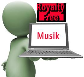 Mand med pc og teksten Royalty free musik
