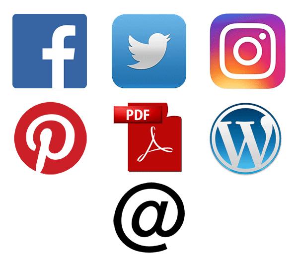 Logoer på de Sociale Medier, som Canva kan gemmes til og bruges på