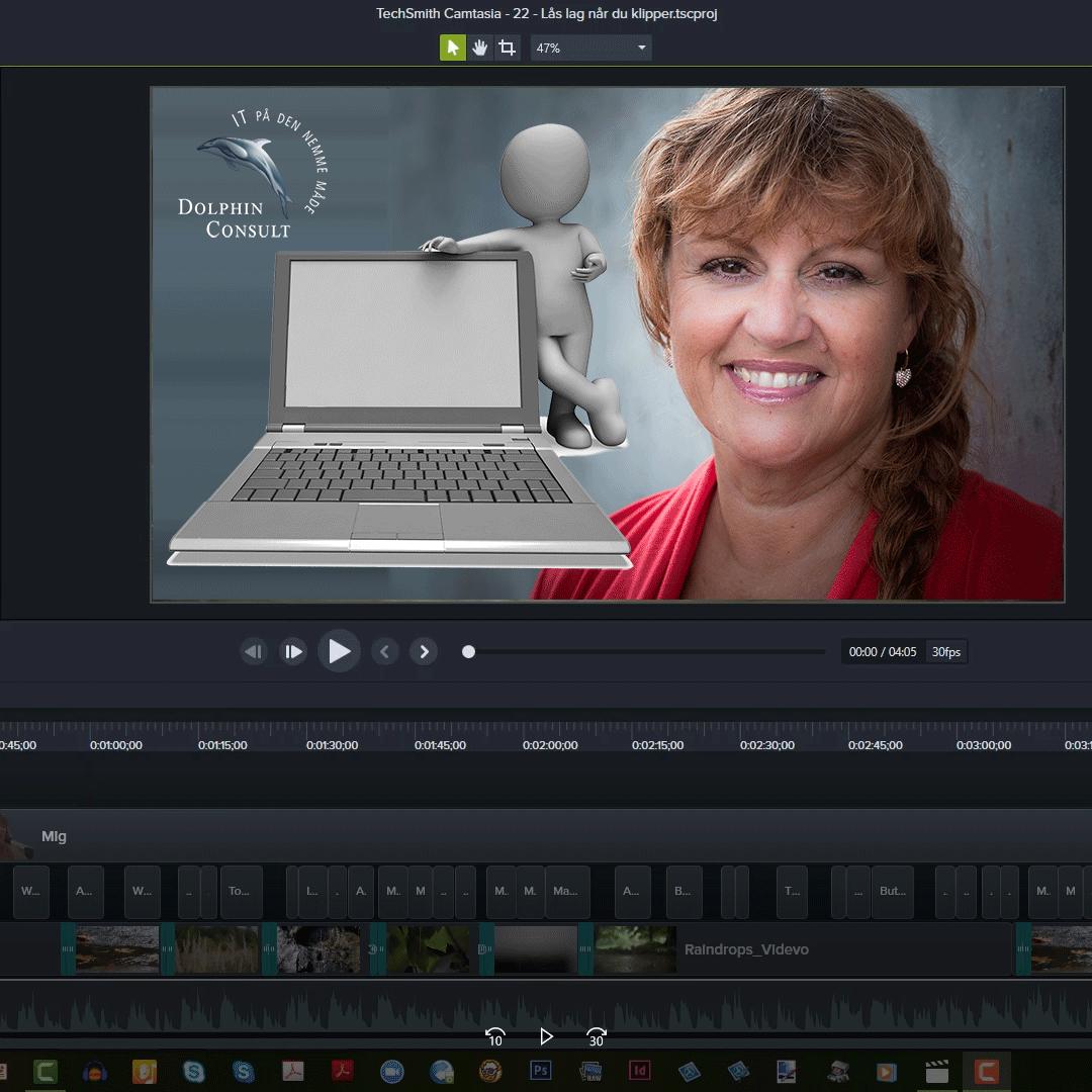 Camtasias redigeringsskærm